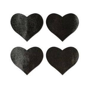 Pastease Black Liquid Heart Petite Nipple Pasties